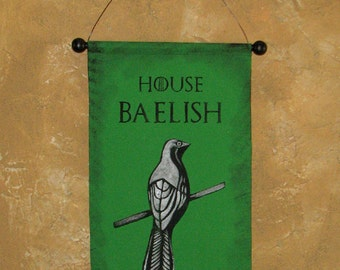 Hand Painted House Baelish Canvas Banner - Game of Thrones - Sigil - Petyr - Littefinger - Mockingbird