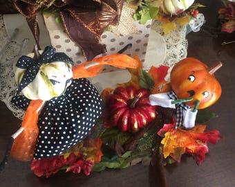 Halloween centerpiece halloween party decor anthropomorphic gourds vintage retro inspired jack o lantern