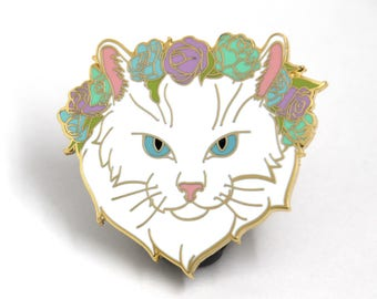 Cat Enamel Pin, Christmas Accessory,  Cat Lover Gift, Hard Enamel Pin, Cat Flower Crown, Christmas Jewelry, Cat Lapel Pin, Cat Lover Jewelry