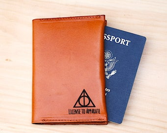 Harry Potter Passport Holder, Travel, License To Apparate, Personalized Leather Passport Cover, Dumbledore, Best Friend Gift, For a Muggle,