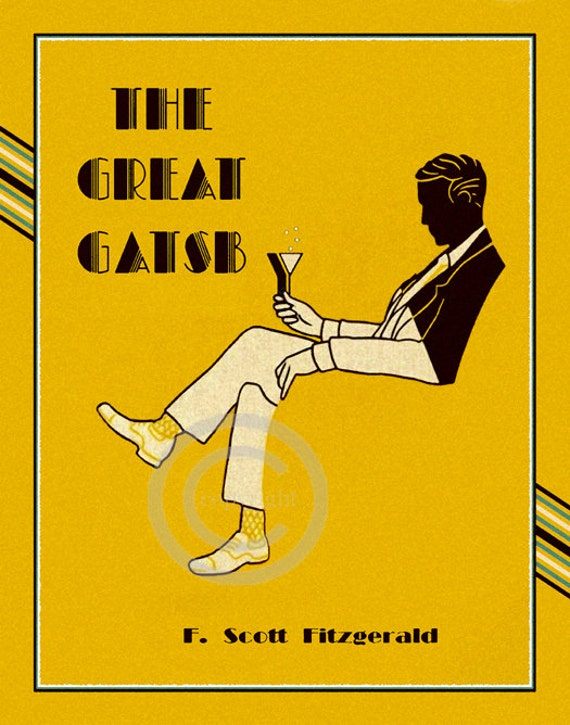 Great Gatsby Book Cover Art : Deco jazz age book cover print the great gatsby silhouette