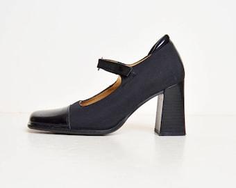 Vintage 90s Mary Jane Platforms / Black Leather Captoe Shoes Heels 6