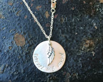 FOREVER My Angel REMEMBRANCE Hand Stamped Sterling Silver Disc Angel Wing Charm Thin Chain Necklace