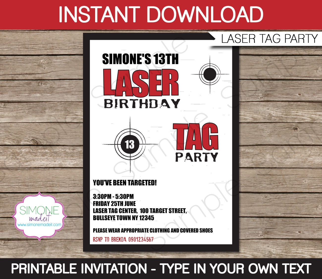 Laser Tag Invitation Template Birthday Party INSTANT