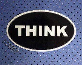 Think Oval Bumper Sticker