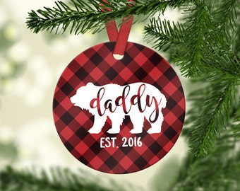 New Dad Gift New Dad Ornament Pregnancy Announcement Husband Gift New Daddy Gift Dad Christmas Ornament Christmas Tree Decorations Red
