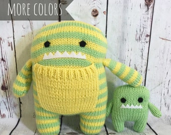 Mommy Baby Monster, Stuffed Monsters, Knit Monster, Knit Stuffed Animal, Kids Toy, Monster Doll, Monster Plush, Striped Toy, Animal Toy