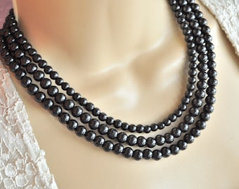 Jet Black Glass Pearl Multistrand Necklace and Earring Set - Bridal