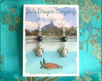 Handmade Silver Plated Hawaiian Sea Turtles and Freshwater Tahitian Pearl Earrings