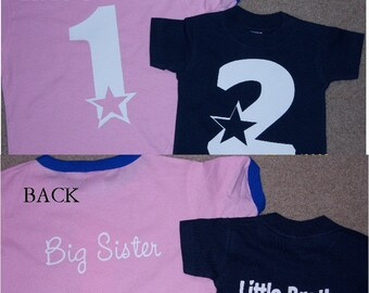 Big Little Brother Sister matching shirts set of 2 with numbers, Big Brother Shirt, Little Brother, Custom Sibling Tshirts, gender reveal