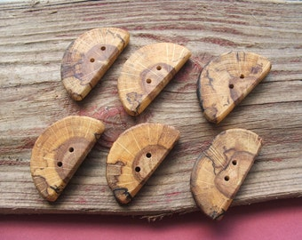 Unusual Oak Toggle Buttons, Handmade Beautiful, large and rustic
