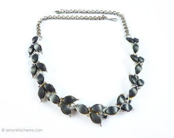 Vintage Grey Thermoset Choker Necklace, Jewelry 1950s, Silvertone Silver, Moonglow Lucite, Leaves Link Navette