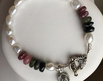 Bracelet — Watermelon Tourmaline, Freshwater Pearls, Sterling Charm
