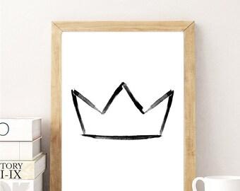 black and white crown Art Print,  modern Nursery Printable Wall art, Printable Poster, 8x10
