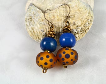 Wire Wrapped Blue Kazuri with Blue Dotted Handmade Lampwork Bead Earrings