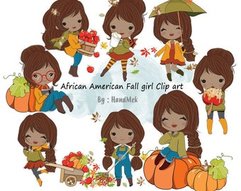 African American Fall girl Clip art  instant download PNG file - 300 dpi