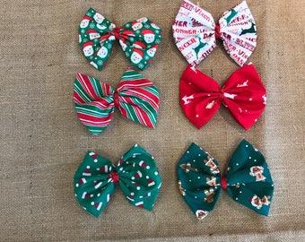 SALE Christmas Fabric Hair Bows