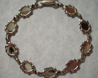 Sterling Plated Bracelet with Six Oval 8 x 6mm Cabochon Settings - Bracelet Blank