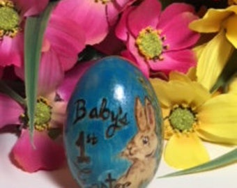 Baby's First Easter – Personalized Wood Easter Egg – First Easter - Easter gift for kids - Easter bunny - Hand painted Easter egg - wood egg