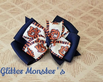 Auburn Hair Bow, Auburn Football Bow, Auburn Football Pinwheel Bow, College Tigers Bow, Girls College Football Hair Bow,