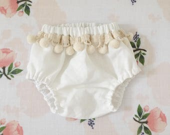 Boho bloomers, baby girl bloomers, bloomers, Pom Pom bloomers, baby girl style