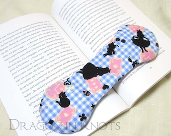 Alice Book Weight - weighted bookmark, alice in wonderland, cheshire cat, blue and white gingham, book lovers gift, classic literature