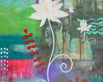 White Lotus Flowers-035 Mixed Media Painting by Carianne James