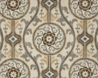 Oh Suzanni II Metal, Magnolia Home Fashions - Cotton Upholstery Fabric By The Yard