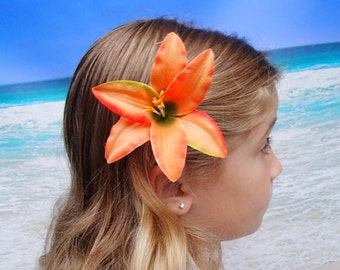 Orange Tiger Lily Flower Hair Clip -  Hawaiian Beach Wedding Alligator Hair Clip Accessory Lilly - Hairclip Pin Hairpin Mermaid