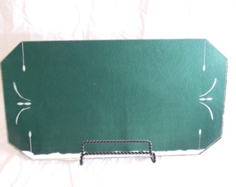 Vintage Etched Mirror Tray - Mirrored Vanity Tray -