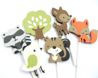 12 Woodland Cupcake Toppers Woodland Baby Shower Woodland Birthday Party Woodland Decorations Forest Friends Party • Set of 12