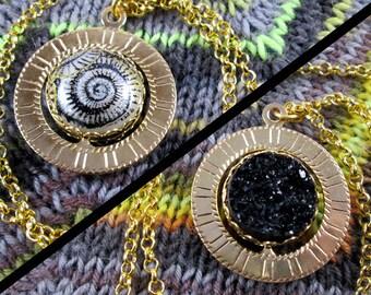 Spinner Pendant Necklace - Gold, Black & White Snail Swirl - Stim Jewelry