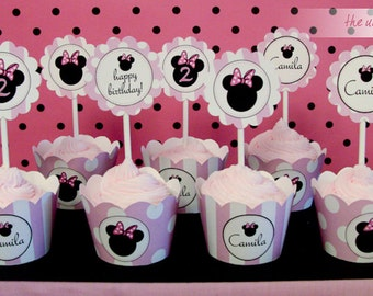 Printable Minnie Mouse Birthday - Cupcake Toppers  - Party circles // MIN-12