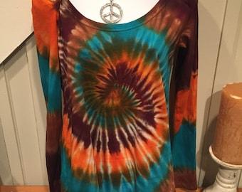 """Tye dye tshirt hoodie, """"modern chick hoodie"""", Jade, brown, and orange tye dye shirt, cotton jersey long sleeve tshirt"""