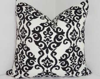 OUTDOOR Pillow Cover Black & White Damask Design Patio Deck Pillow Choose Size