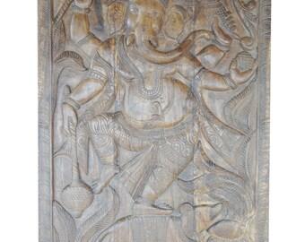 Vintage India Hand Carved Wood Wall Sculpture Ganesha Door Panel Natural Finish Grounding CHAKRA Zen Interior Design