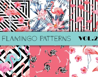 Watercolor hand drawn flamingo, palm leaf seamless pattern art vector. Summer mood print scrapbook digital paper. Beautiful color background