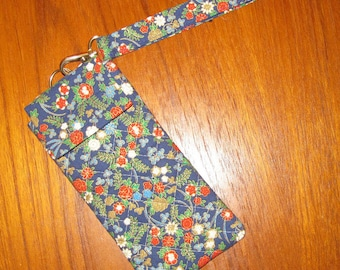 Japanese Quilted Fabric Eyeglasses Sunglasses Sleeve Tiny Floral Design Blue