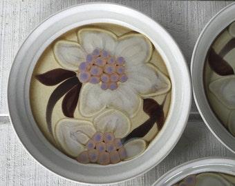 Retro stoneware dinner plates Noritake Oriental Garden Japan folkstone plates with white flowers with purple & 3 Retro stoneware dinner plates vintage brown orange yellow