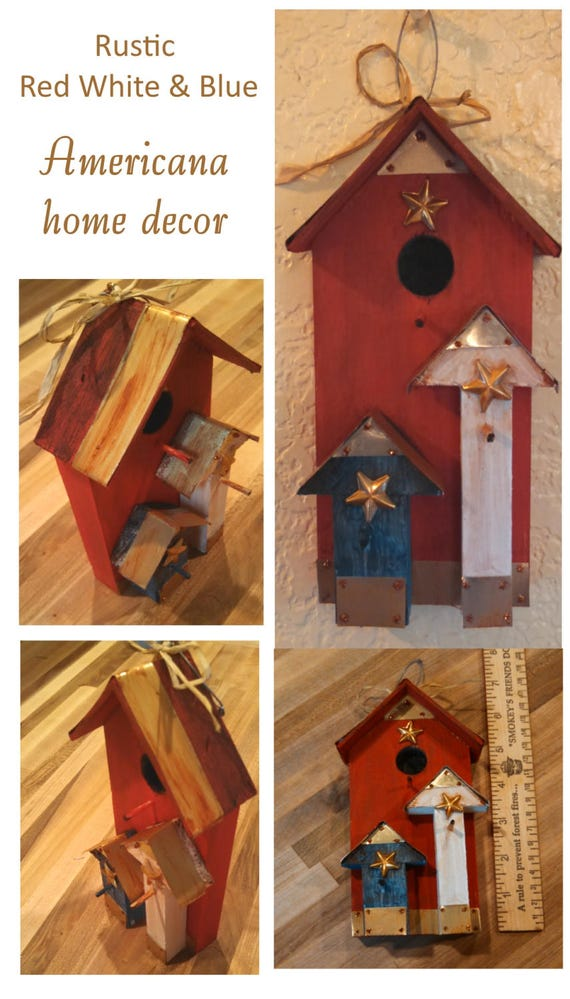 Red white & Blue rustic Americana table top home decor hanging birdhouse 4th of July decor tin wood brass stars patriotic party decor