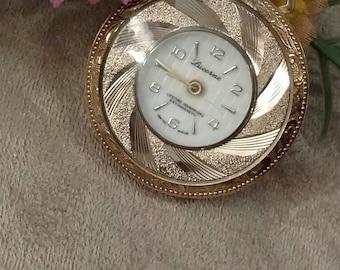Ladies LUCERNE Windup Watch, Pocket Watch, Gold Scroll, Pendant, Anti-magnetic, Designer Windup, Gold Scroll Ladies Watch