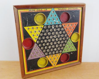 Vintage Man-Dar-In Chinese Checker Board • Colorful Wood Framed Game Board • Baldwin Manufacturing Co. Brooklyn New York Game Board