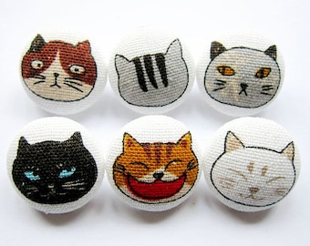 Cat Buttons Sewing Buttons / Fabric Buttons - Cat Portraits - 6 Medium Fabric Buttons Set