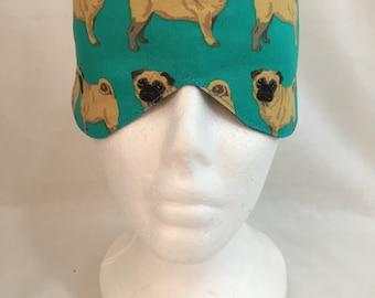 Pug Dog Cotton Sleep Mask and Case Set, Eye Mask, Travel Mask