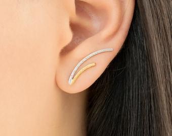 Mother gift, minimalist earrings, sterling silver minimal earrings, bar ear cuff earrings, ear climber earrings, earcuffs, quirky earrings
