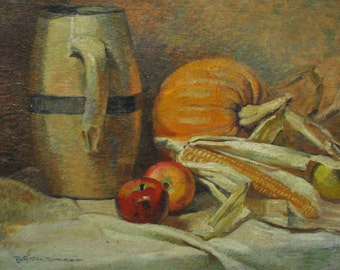 Signed H. Boylston Dummer, Country Kitchen, Antique Oil on Canvas 24 x 18, PA4253, Shipping Not Free!!!
