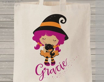 Halloween bag trick or treat magical witch with black cat bag perfect to use as a halloween bag to collect all the candy MBAG1-018