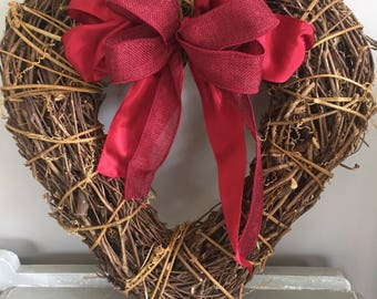 Large Winter heart - large heart door wreath - Door wreath - heart door wreath - red door wreath - door decor- valentine gift