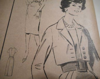 Vintage 1950's Advance 9295 Dress and Jacket Sewing Pattern Size 14 Bust 32
