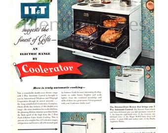 1951 Coolerator Electric Range Vintage Ad, 1950u0027s Kitchen, Advertising Art,  Retro Stove,